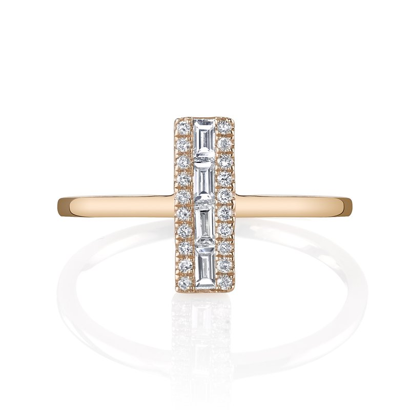 Mars Jewelry 14K Rose Gold Fashion Ring w/ Diamond Baguette Accents 26825