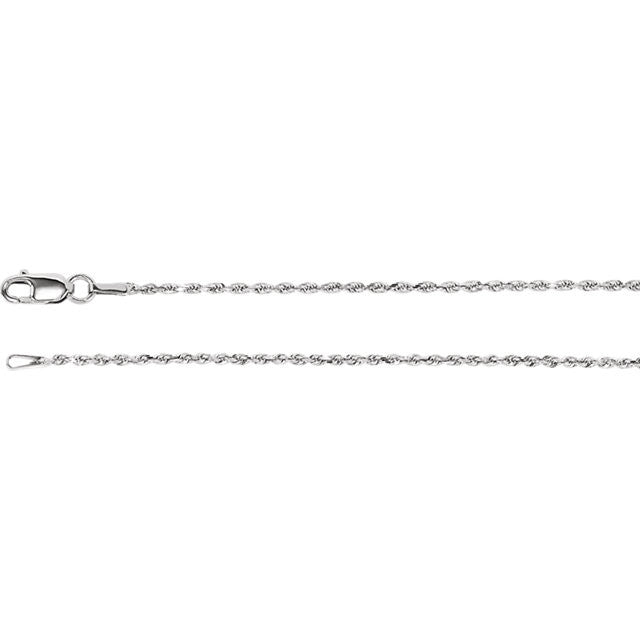 14K Gold 1.3mm Diamond-Cut Rope Chain with Lobster Closure