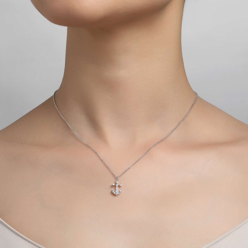 Lafonn Signature Lassaire Simulated Diamond Anchor Necklace 9N024CLP18