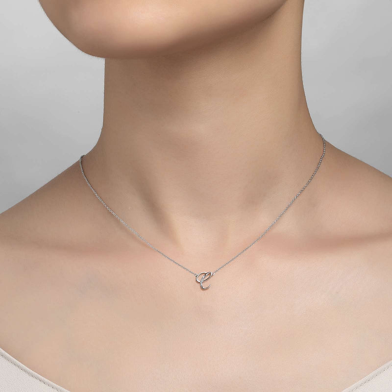 "Lafonn Signature Lassaire Simulated Diamond ""C"" Letter Pendant Necklace 9N067CLP"