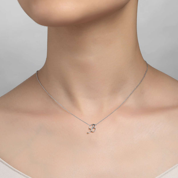 "Lafonn Signature Lassaire Simulated Diamond ""B"" Letter Pendant Necklace 9N070CLP18"