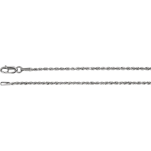 14K Gold 1.6mm Diamond-Cut Rope Chain with Lobster Closure