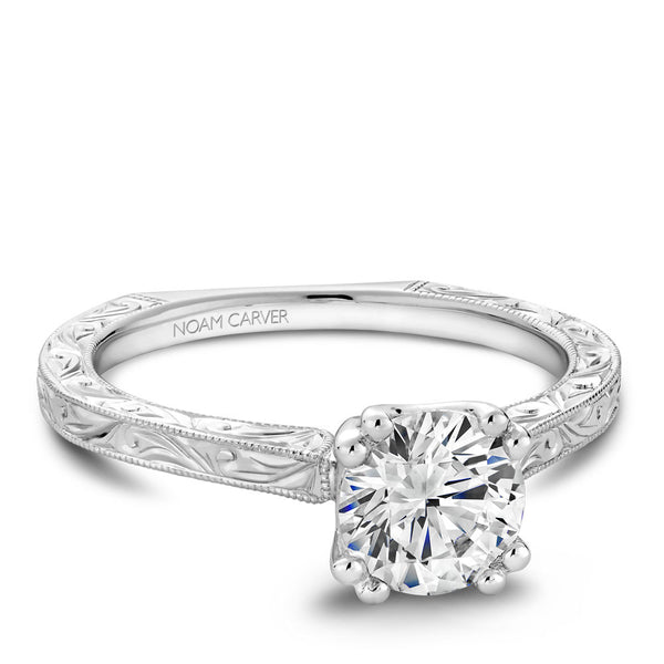 Noam Carver Hand Engraved Solitaire Engagement Ring B001-02EA