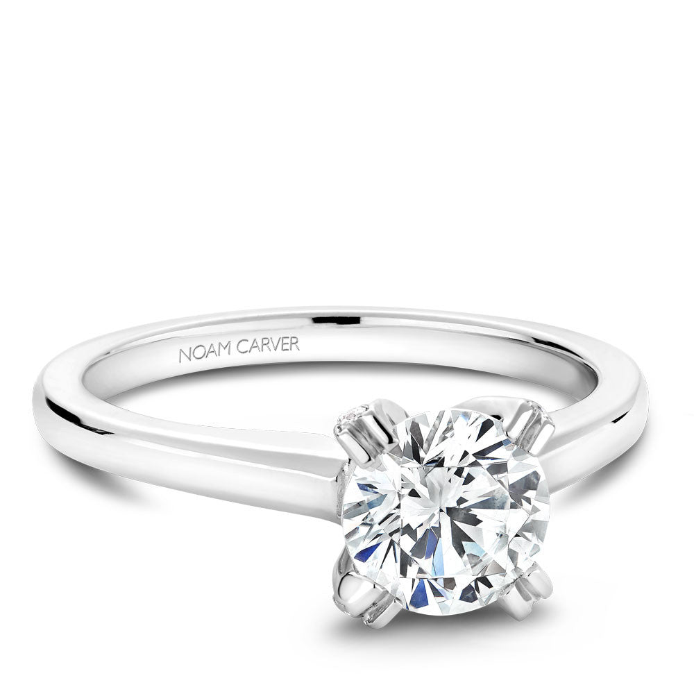 Noam Carver Solitaire with Diamond Detail Engagement Ring B002-02A