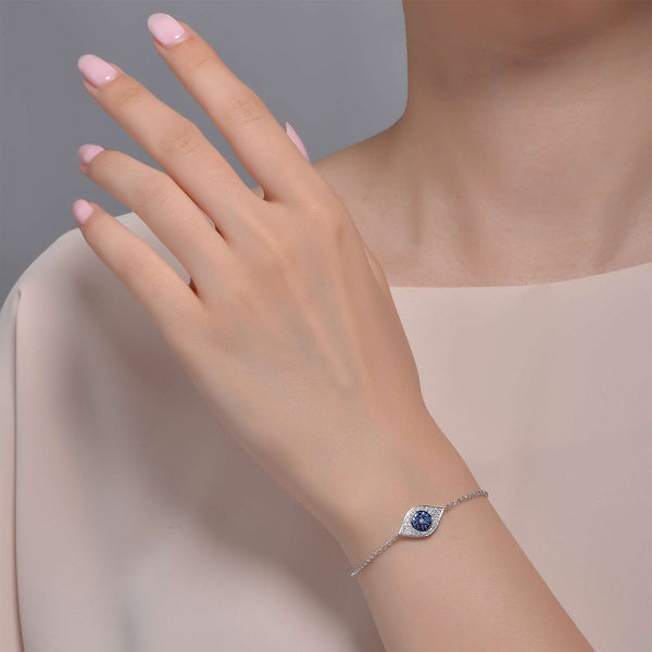 Lafonn Signature Lassaire Simulated Diamond Sapphire Evil Eye Bracelet B0026CSP75