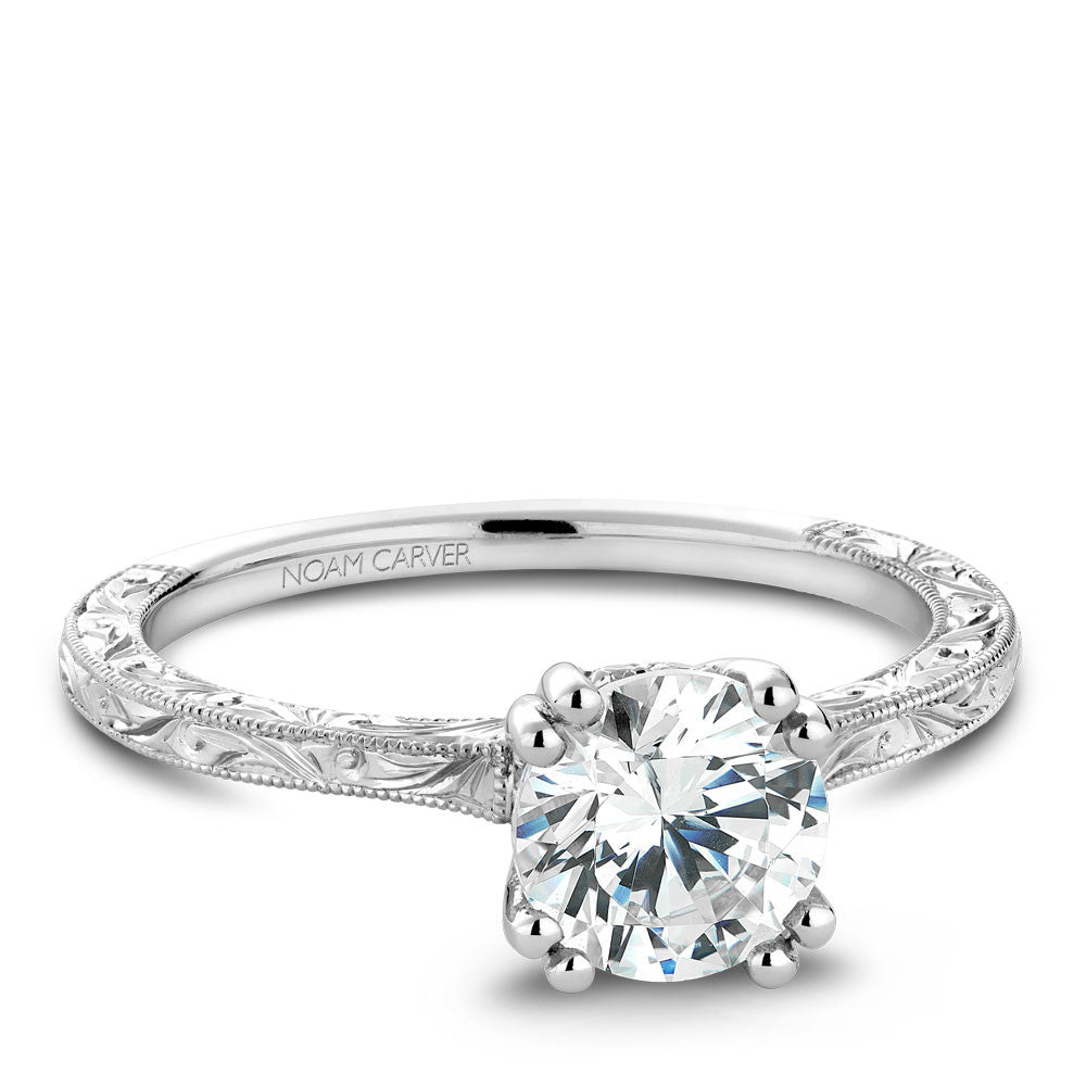 Noam Carver Hand Engraved Solitaire Engagament Ring with Diamond Peek-A-Boo Halo B004-02EA