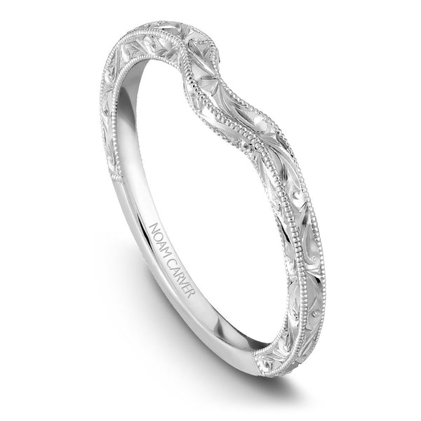 Noam Carver Hand Engraved Solitaire Wedding Band B004-02EB