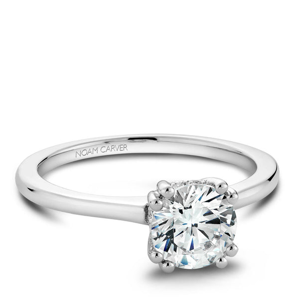 Noam Carver Solitaire Engagament Ring with Diamond Peek-A-Boo Halo B004-04A