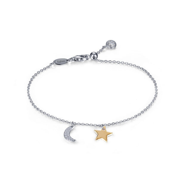 Lafonn Signature Lassaire Simulated Diamond Moon & Star Charm Bracelet B0137CLT