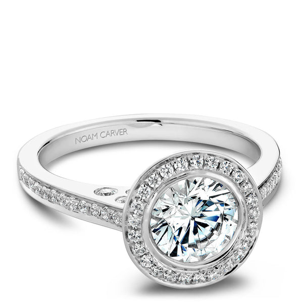 Noam Carver Micro Pavé Diamond Halo Engagement Ring B016-01A