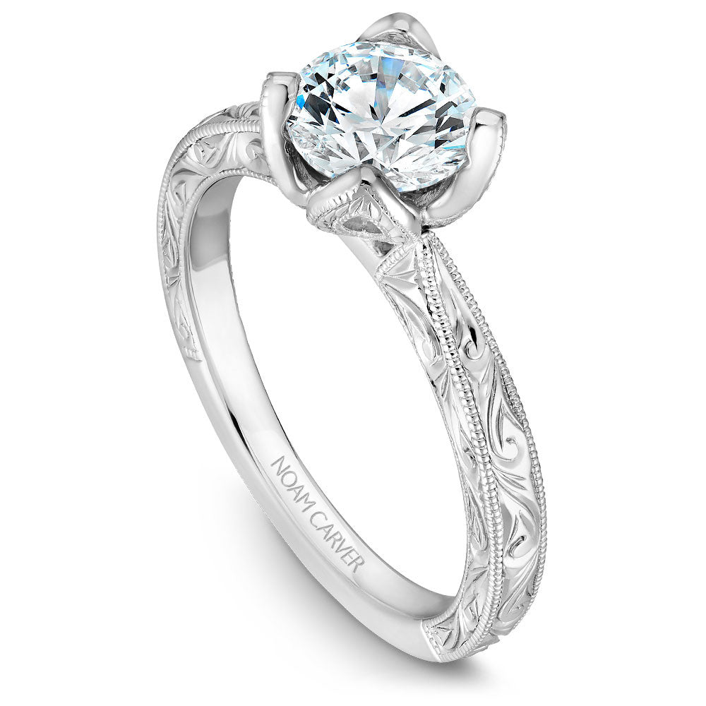 Noam Carver Hand Engraved Solitaire Floral Setting Engagement Ring B019-02EA