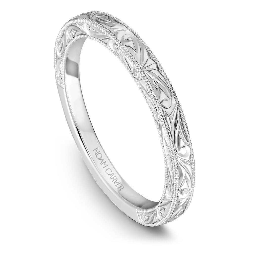Noam Carver Hand Engraved Solitaire Wedding Band B019-02EB