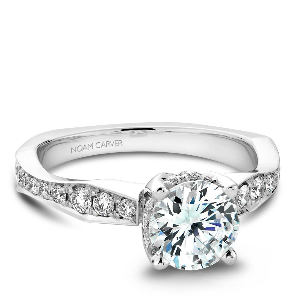 Noam Carver Micro Pavé with Diamond Detail Engagement Ring B020-02A