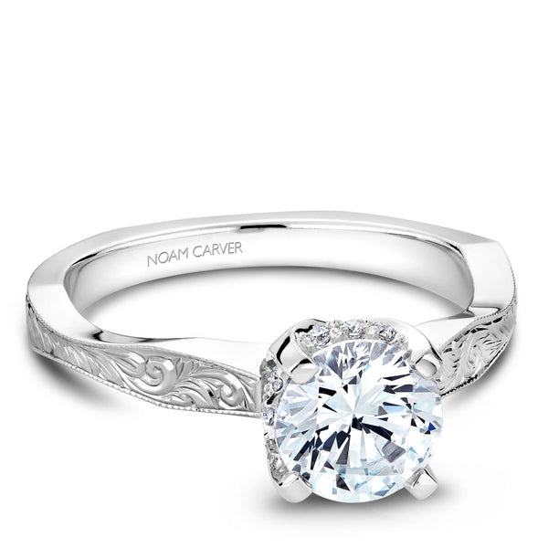 Noam Carver Hand Engraved Solitaire with Diamond Detail Setting Engagement Ring B020-04EA