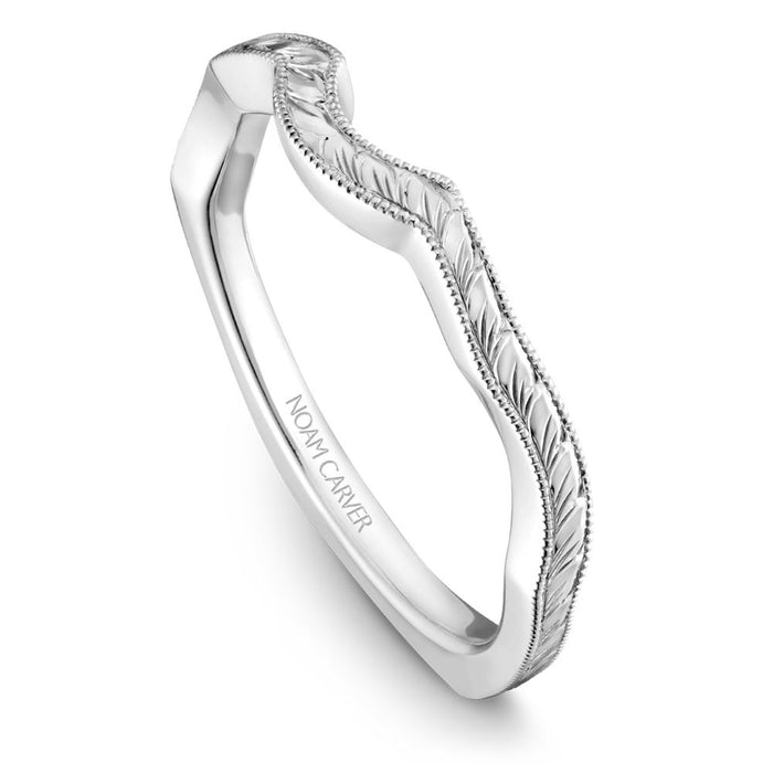 Noam Carver Hand Engraved Solitaire Wedding Band B020-04EB