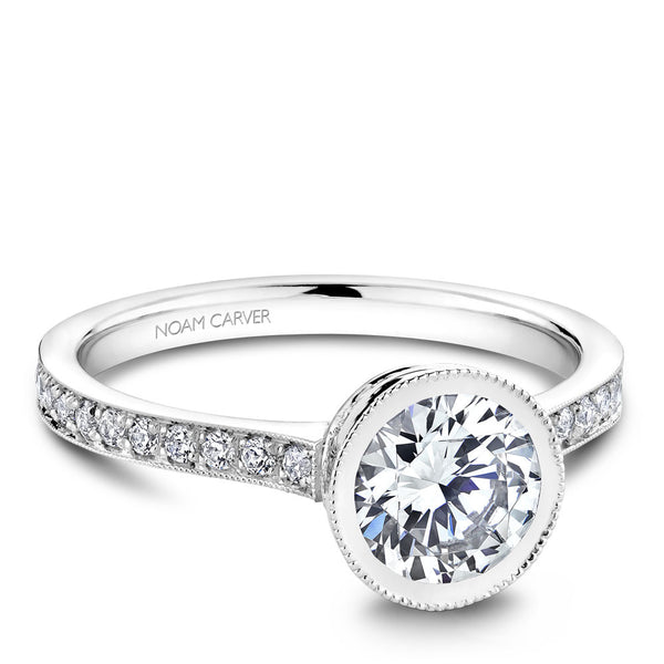 Noam Carver Micro Pavé with Bezel Diamond Top Engagement Ring B025-02A