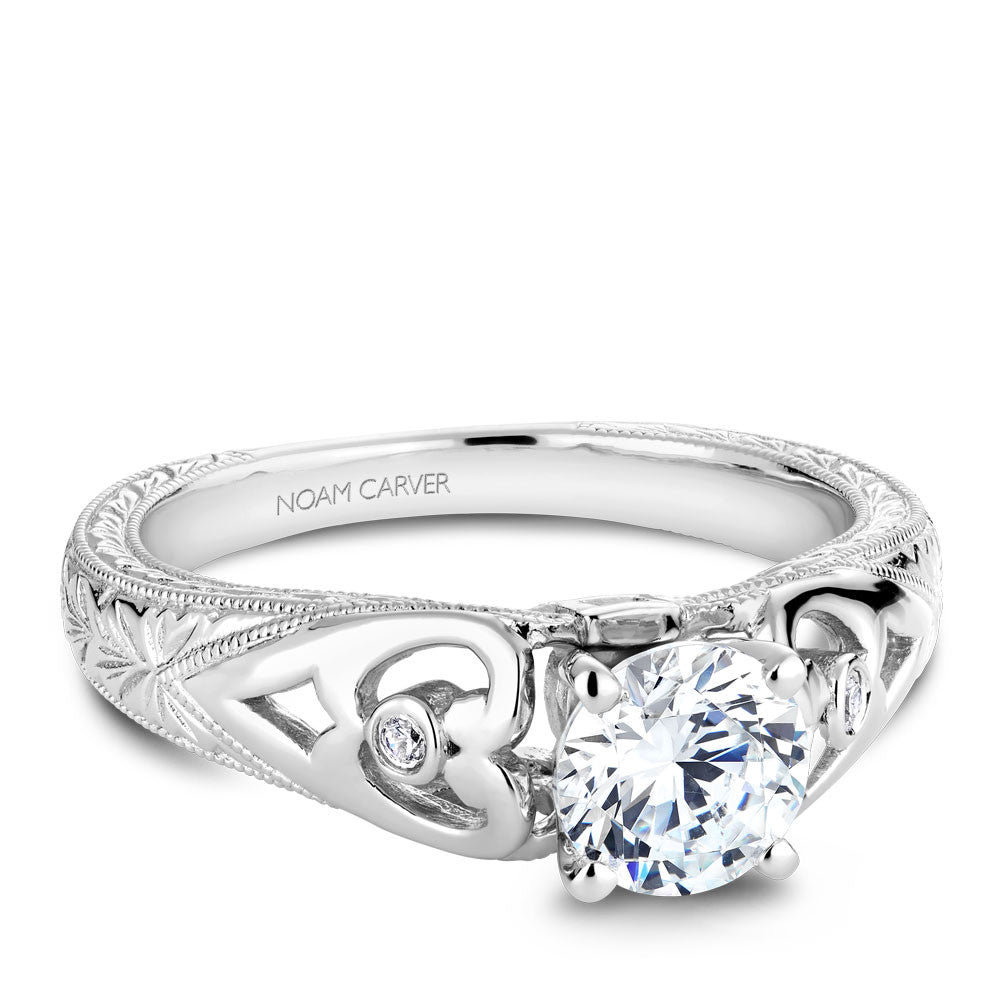 Noam Carver Vintage Inspired Hand Engraved Diamond Engagement Ring B051-01A