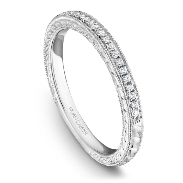 Noam Carver Hand Engraved Diamond Wedding Band B051-01B