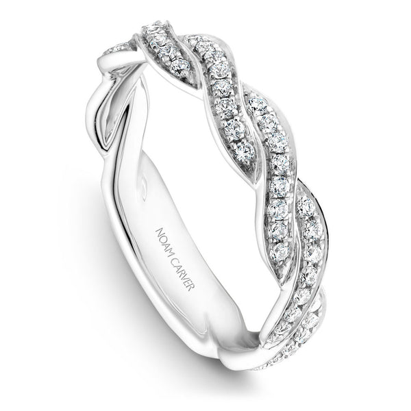 Noam Carver Braided Encrusted Diamond Wedding Band B059-01B