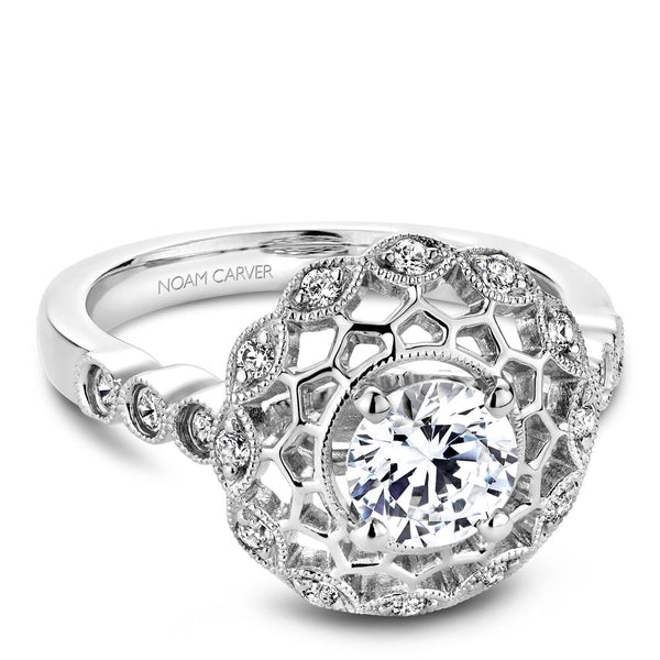 Noam Carver Vintage Inspired Diamond Halo Engagement Ring B068-01A