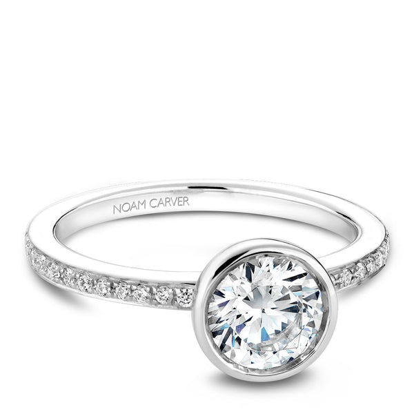 Noam Carver Bezel Top Micropavé Diamond Engagement Ring B095-02A