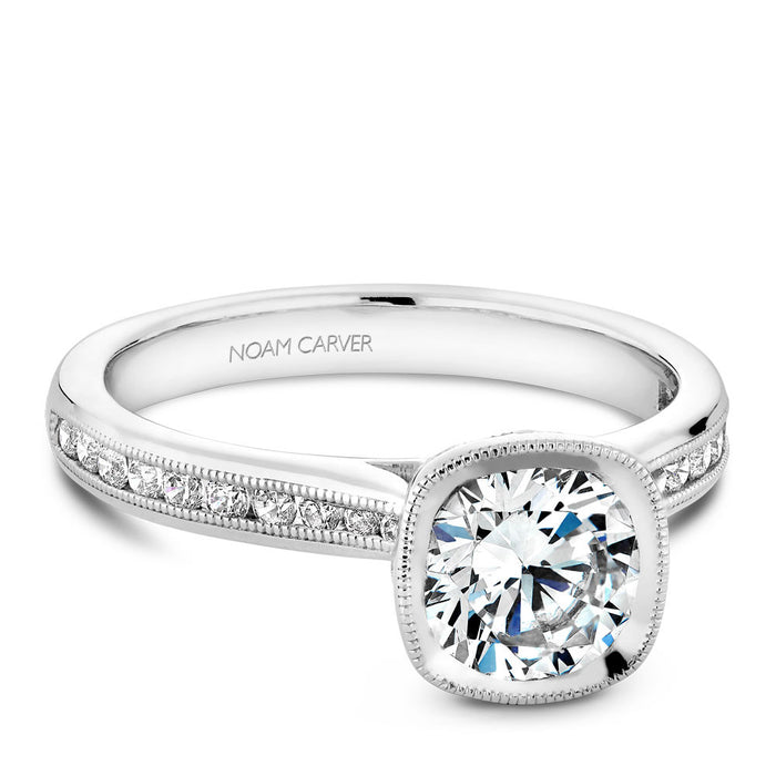 Noam Carver Cushion Shaped Bezel Top Micropavé Diamond Engagement Ring B145-13A