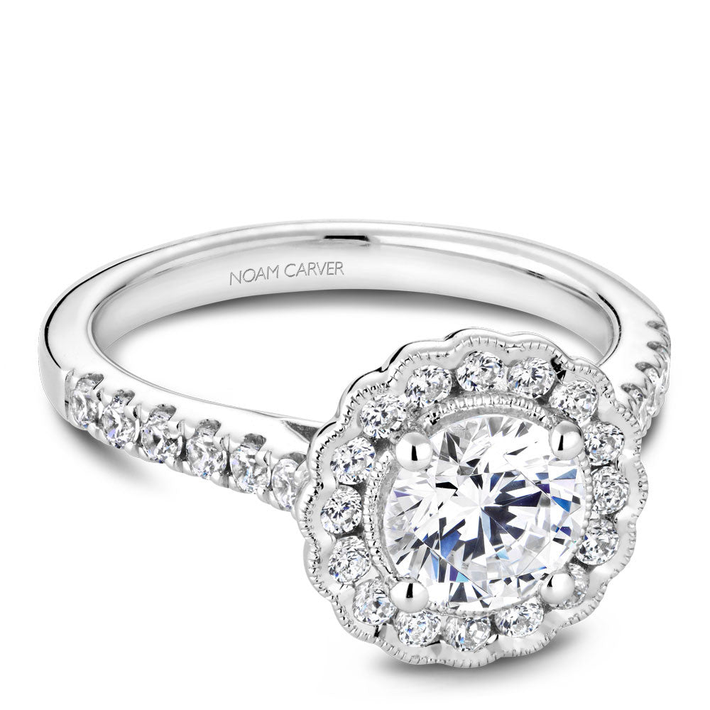 Noam Carver Diamond Engagament Ring with Floral Diamond Halo B150-01A