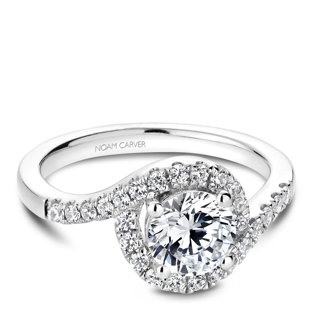 Noam Carver Cuved Halo Diamond Engagement Ring B186-01A