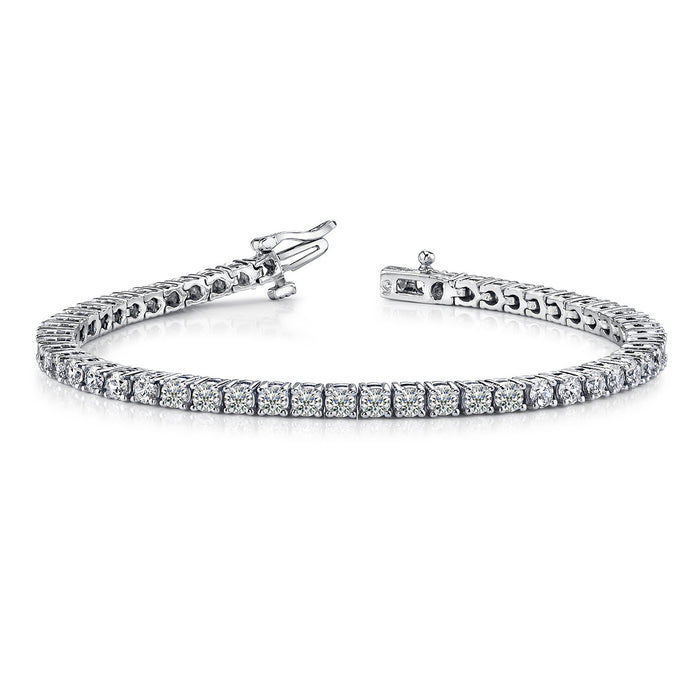 3 Carat Round 14K White Gold 4 Prong Diamond Tennis Bracelet (Signature Quality)