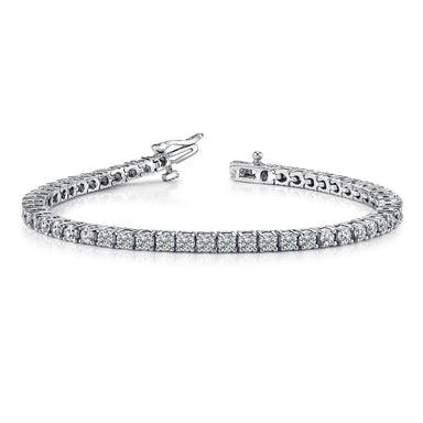 10 Carat Round 14K White Gold 4 Prong Diamond Tennis Bracelet (Classic Quality)