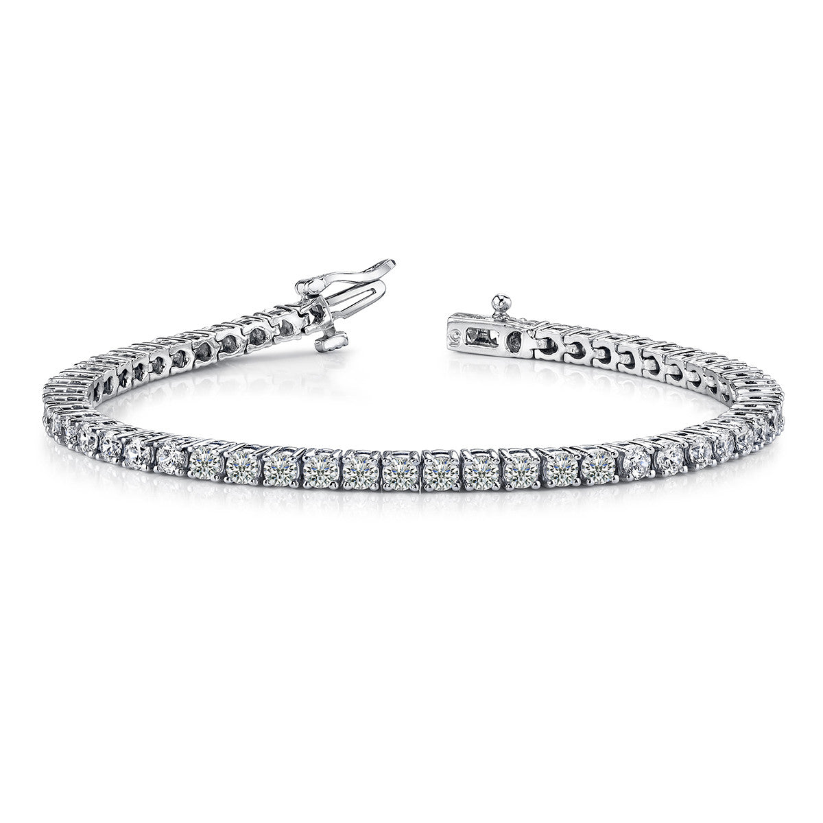 4 Carat Round 14K White Gold 4 Prong Diamond Tennis Bracelet (Signature Quality)