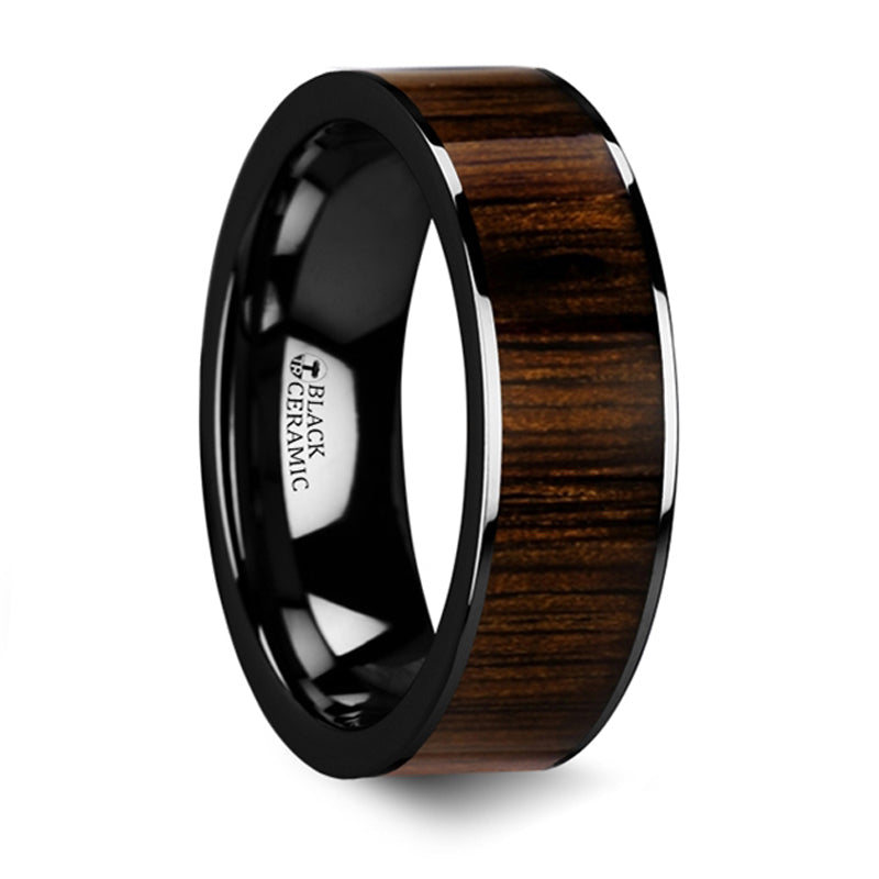 Thorsten Kendo Black Ceramic Polished Finish Ring w/ Black Walnut Wood Inlay (6-10mm) BC5416-BWW