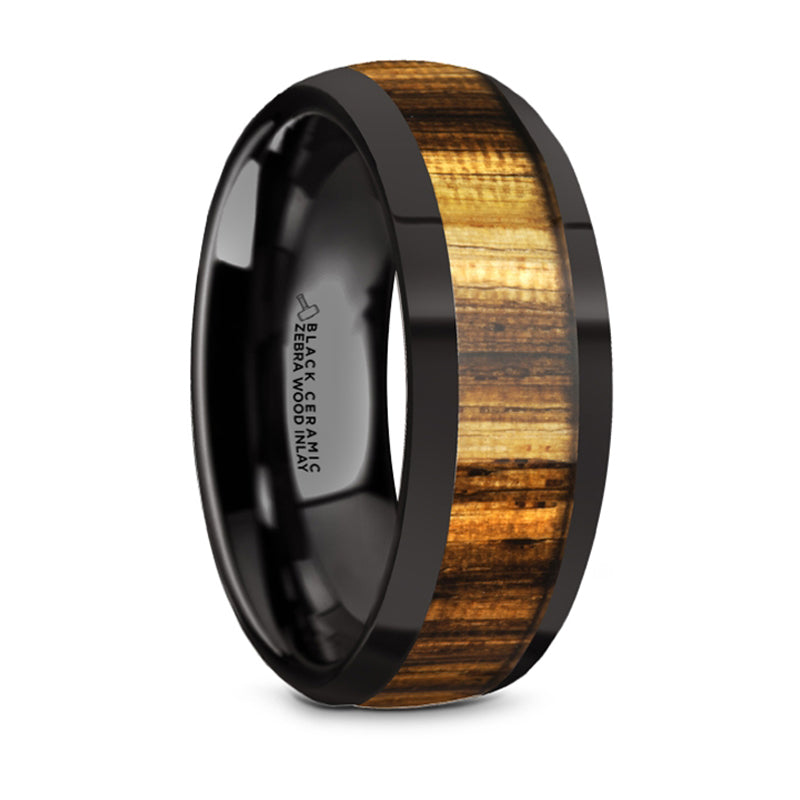 Thorsten Zerra Black Ceramic Polished Finish Domed Wedding Ring w/ Zebra Wood Inlay (8mm) BC5964-DPZW