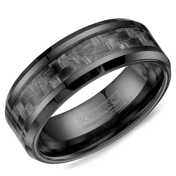 Torque Black Ceramic Collection 8MM Wedding Band with Carbon Fiber BCE-0001