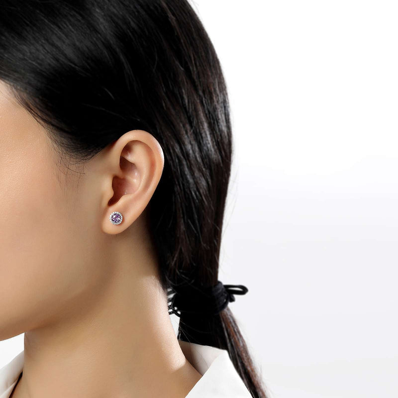 Lafonn Signature Lassaire Simulated Diamond Genuine Amethyst Birthstone Earrings-February BE001AMP