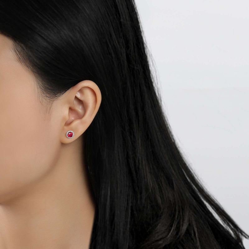 Lafonn Signature Lassaire Simulated Diamond Genuine Garnet Birthstone Earrings-January BE001GNP
