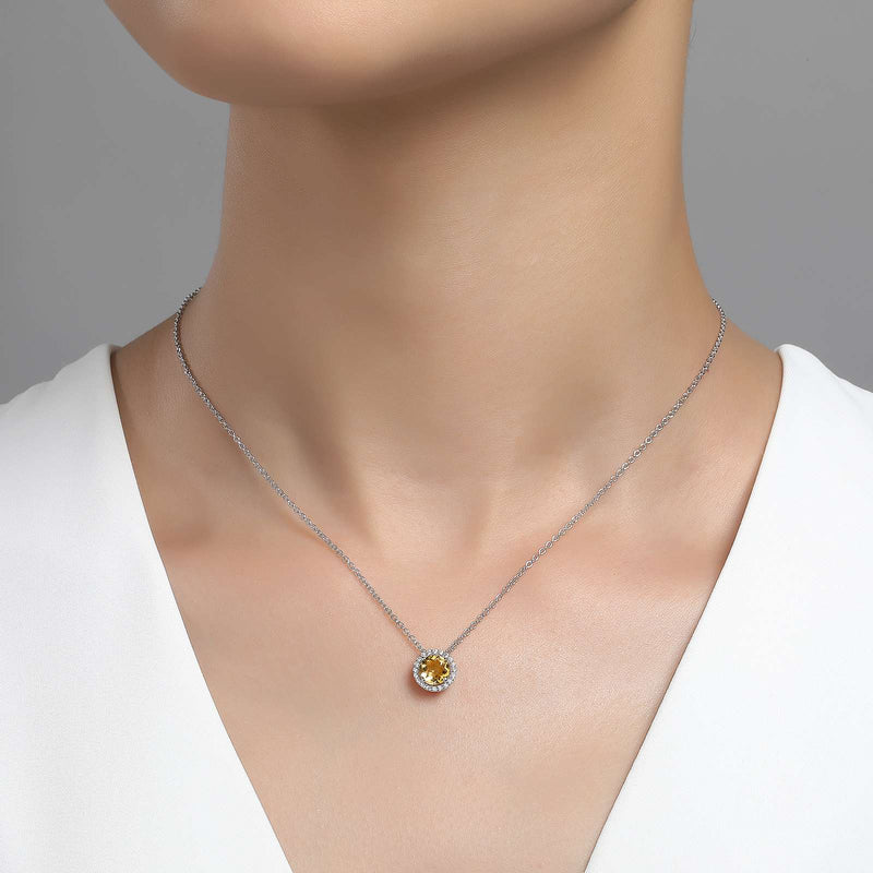 Lafonn Signature Lassaire Simulated Diamond Genuine Citrine Birthstone Necklace-November BN001CTP