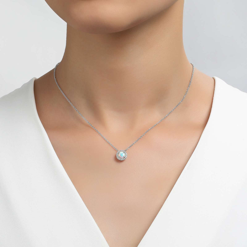Lafonn Signature Lassaire Simulated Diamond Opal Birthstone Necklace-October BN001OPP