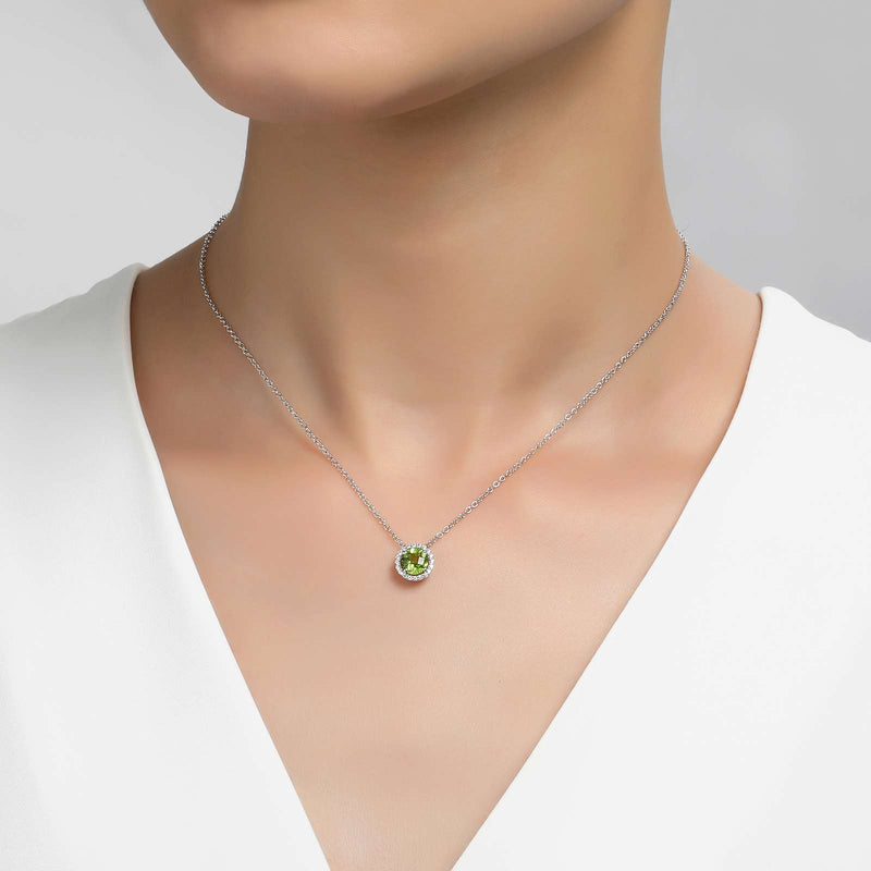 Lafonn Signature Lassaire Simulated Diamond Genuine Peridot Birthstone Necklace-August BN001PDP18