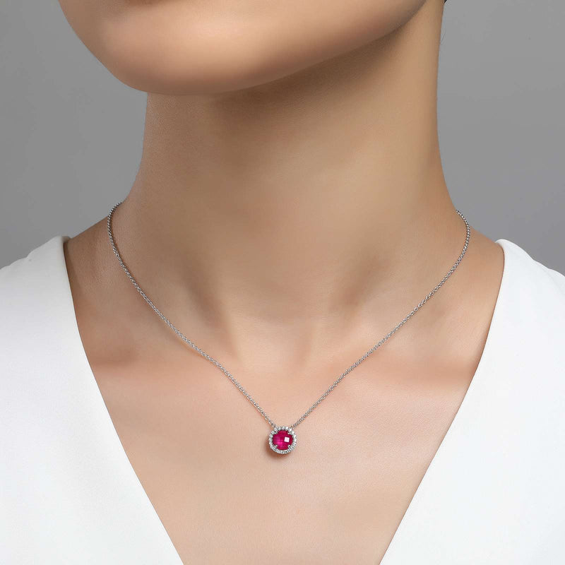 Lafonn Signature Lassaire Simulated Diamond Ruby Birthstone Necklace-July BN001RBP