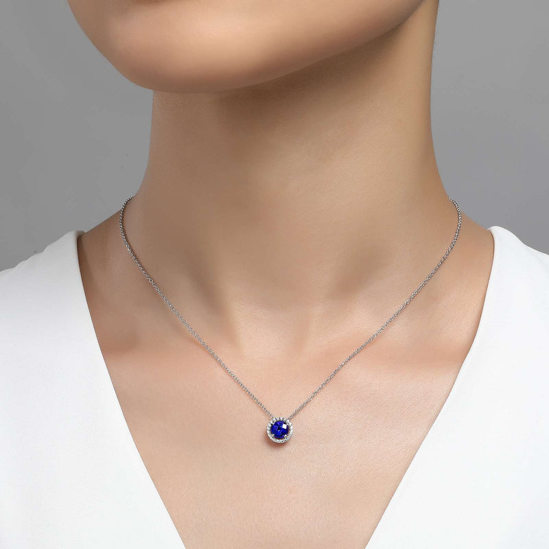 Lafonn Signature Lassaire Simulated Diamond Sapphire Birthstone Necklace-September BN001SAP