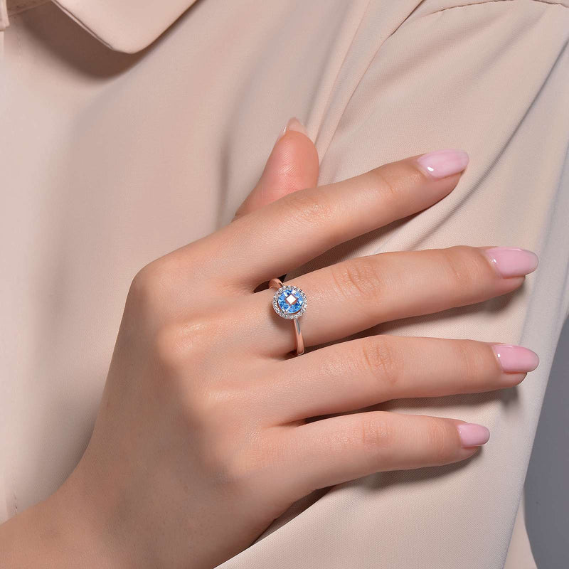 Lafonn Signature Lassaire Simulated Diamond Blue Topaz Birthstone Ring-December BR001BTP