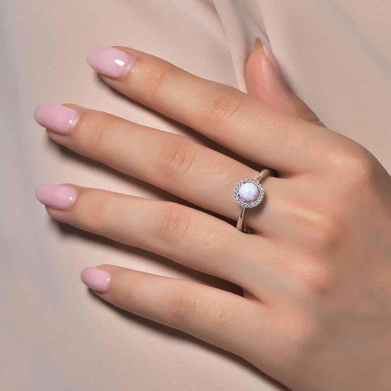 Lafonn Signature Lassaire Simulated Diamond Opal Birthstone Ring-October BR001OPP