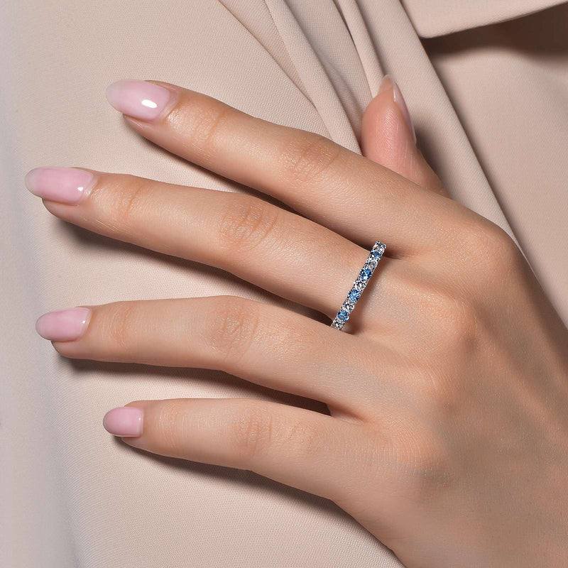 Lafonn Signature Lassaire Simulated Diamond & Blue Topaz Birthstone Stackable Ring BR004BTP