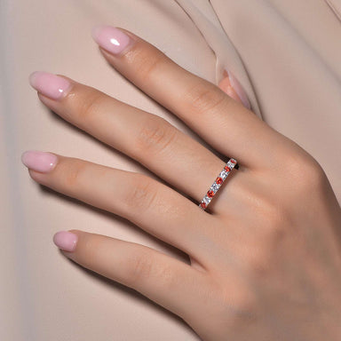 Lafonn Signature Lassaire Simulated Diamond & Garnet Birthstone Stackable Ring BR004GNP