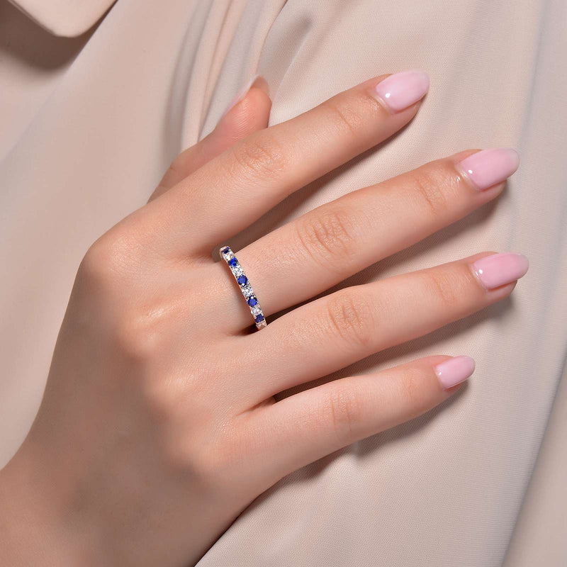 Lafonn Signature Lassaire Simulated Diamond & Sapphire Birthstone Stackable Ring BR004SAP