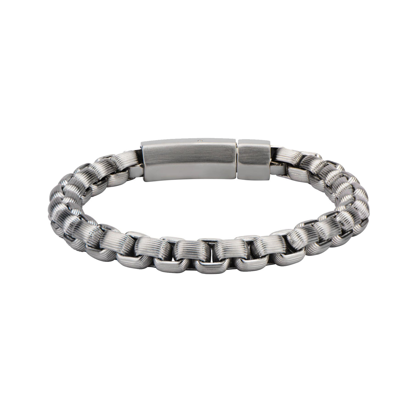 "Inox Jewelry Steel Grove Line Bold Box Chain 8.5"" Bracelet BR5026"