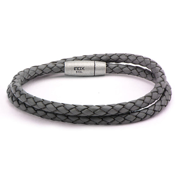 "Inox Jewelry Double Round Gray Braided Italian Leather 8.25"" Bracelet BRATDB2GY"
