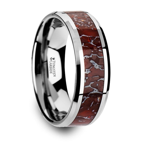 Thorsten Jurassic Red Dinosaur Bone Inlaid Tungsten Carbide Beveled Edged Ring(8mm)C3756-TCDB