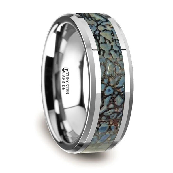 Thorsten Devonian Blue Dinosaur Bone Inlaid Tungsten Carbide Beveled Edged Ring(8mm)C3810-TCDB